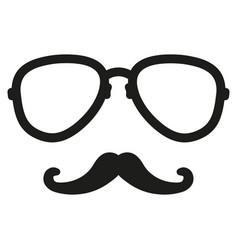 hipster mustache nerd glasses vector image