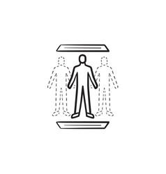 Human teleportation technology hand drawn outline vector