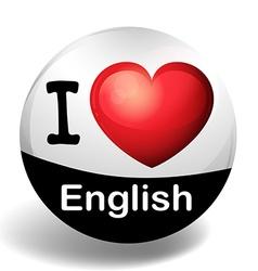 i love english on badge vector image