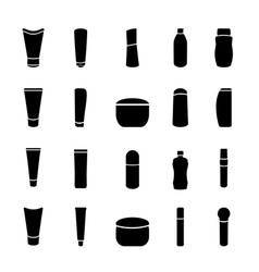 Icon black cosmetics bottle set on white vector