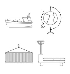 isolated object of goods and cargo logo set of vector image