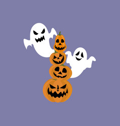 jack-o-lantern pumpkin and ghost vector image