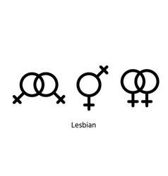 Lesbian gender symbols orientation signs vector