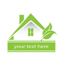 Logo light green house and leafs vector