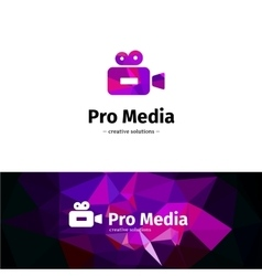 low poly camera logo Media business violet vector image