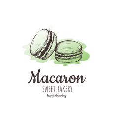 Macaron macaroon almond cakes macaron sketch vector