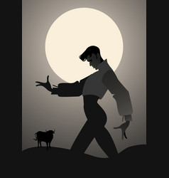 Man dancing flamenco and bull in the background vector