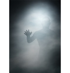 Man in fog vector