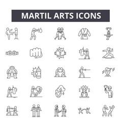 Martial arts concept line icons signs set vector