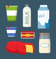 Milk and cheese icons set vector