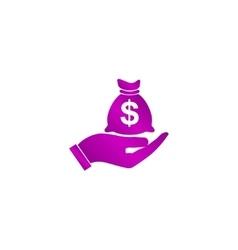 Money insurance sign hand holds cash bag in vector