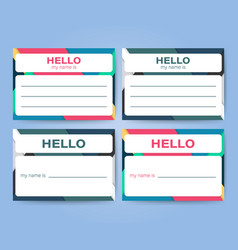 Name tag set label sticker on white background vector