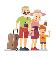 Old people with grandson travelers on holiday vector