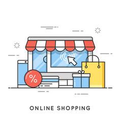 online shopping e-commerce flat line art style vector image
