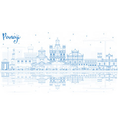 Outline panaji india city skyline with blue vector