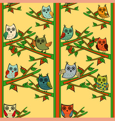 owl tree branch vertical seamless pattern vector image