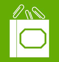 paper clips box icon green vector image