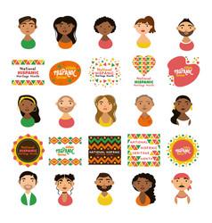 People characters and national hispanic heritage vector