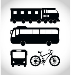 public transport vehicles sillouette vector image