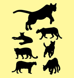 puma animals silhouettes vector image