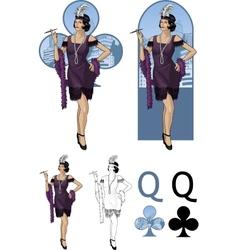 Queen clubs asian starlet mafia card set vector