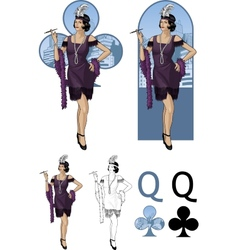 Queen of clubs asian starlet Mafia card set vector image