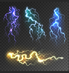 realistic lightning collection on transparent vector image