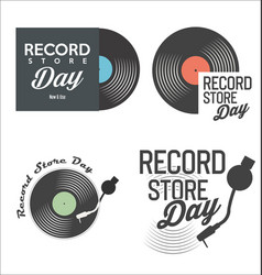 retro vinyl record store day background vector image