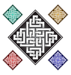 rhombic logo template in celtic knots style vector image