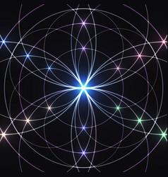 Sacred geometry glowing geometrical ornament vector