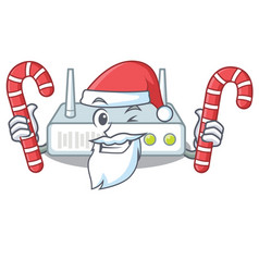 santa with candy router placed on wooden cartoon vector image
