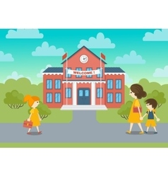 School building and schoolchild vector