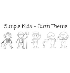 set of doodle farmer character vector image