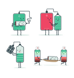 set of isolated icons of cartoon batteries and vector image