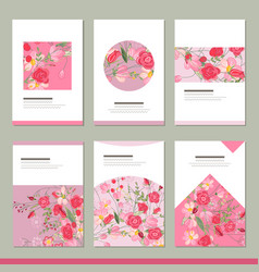 Set with six floral romantic templates roses and vector