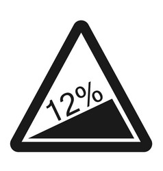 Steep climb sign line icon vector