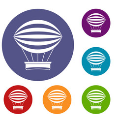 Striped retro hot air balloon icons set vector