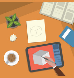 study table and art work desktop vector image