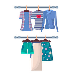 summer mode poster with fashionable shirts shorts vector image