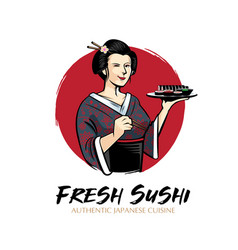 Sushi lady vector