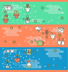 thin line art home flowers web banner vector image