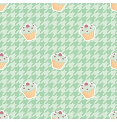 Tile cupcake pattern on mint green houndstooth vector image