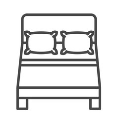 top view double bed with pillows linear icon style vector image