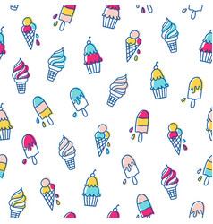 Various ice cream pattern vector