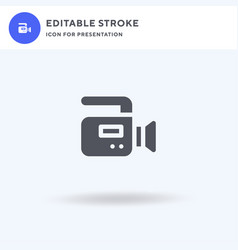 video camera icon filled flat sign solid vector image