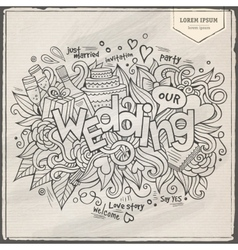 Wedding hand lettering and doodles elements vector