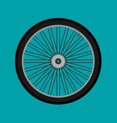 wheel of bicycle with bicycle sprocket in a flat vector image