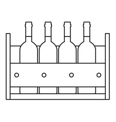 Wine bottles standing in a crate icon vector