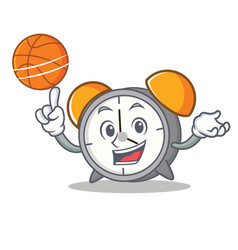 With basketball alarm clock character cartoon vector