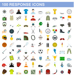 100 response icons set flat style vector image vector image